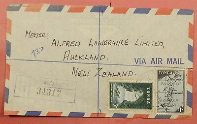 1962 Tonga Multi Franked Airmail Cover Registered To Usa