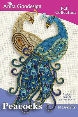 Anita Goodesign Peacocks Embroidery Machine Design CD NEW 119AGHD