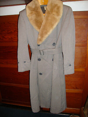 Vintage 1940s era DRAPER/PENNEYS Long Coat w/ SHEARLING Collar, Very COOL!! s/36