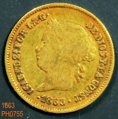 PHILIPPINES SPAIN Gold Peso 1863 3/2 date circulated
