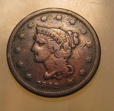 1842 (Small Date) Braided Hair Large Cent Penny- Very Fine Details - 53FR