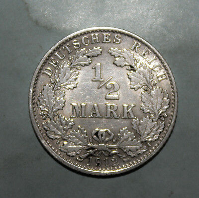 Germany 1/2 Mark 1912-D Extremely Fine + Silver Coin   **** Key Date