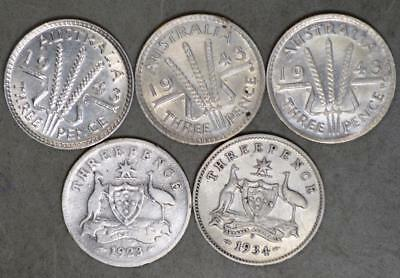 Australia 3 Pence Lot of 5 Silver Coins with 1923 1934 1943 1943-D 1943-S