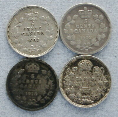 CANADA Silver 5 Cents 1902,1902-H,1910,1920 Lot of 4 Fishscales Coins, No Res.!