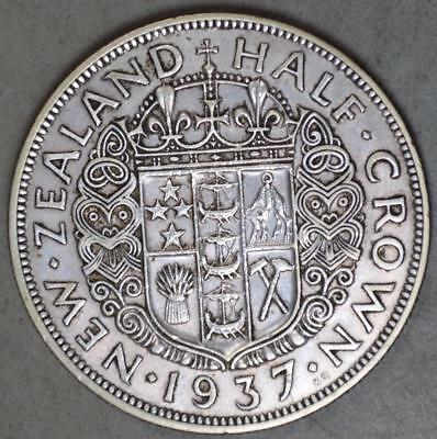 New Zealand 1937 Half Crown Silver Coin