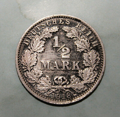 Germany 1/2 Mark 1918-G Almost Uncirculated Silver Coin **** Key Date