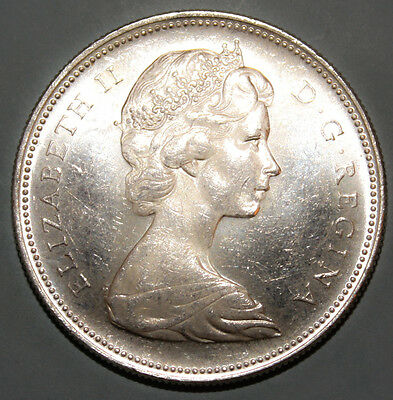 Canada 1 Dollar 1965 Almost Uncirculated / Uncirculated Silver Coin - Voyageur