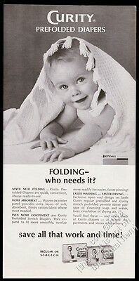 1967 Curity prefolded diapers smiling baby photo vintage print ad