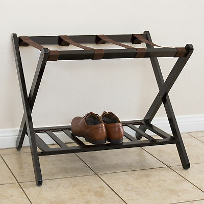 Best Choice Products Wood Folding Luggage Rack Shelf- Brown