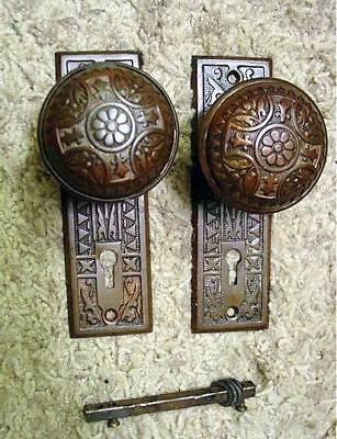 Pair Of Sargent Victorian Brass Door Knobs W/ Backlates & Spindle 1890