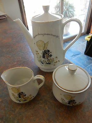 Vintage Holly Hobbie Yellow Girl Set Tea Pot Sugar Bowl and Milk Jug RARE