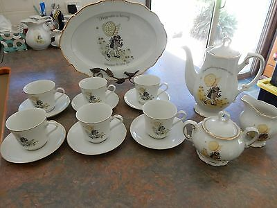 Vintage Holly Hobbie Yellow Girl Set Cups Saucers Sugar Bowl Tea Pot  Jug +*
