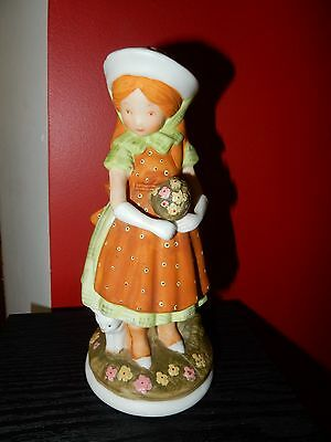 Vintage Holly Hobbie Girl With Flowers