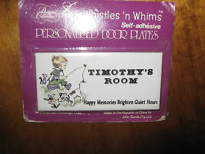 Vintage Whistles' n Whims Porcelain Personalised Door Plate TIMOTHY's ROOM