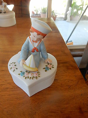 Vintage Holly Hobbie Boy Heart Shaped Trinket Box (RARE)