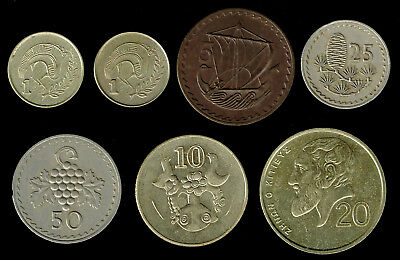 CYPRUS:- 7 different post independence pre Eurozone circulation coins. AP6160