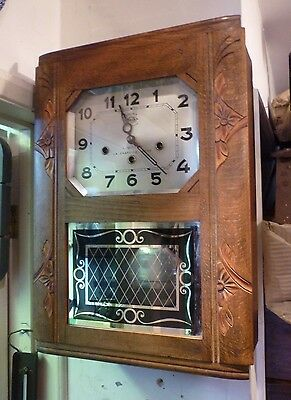 Original Girod Art Deco Oak Cased Westminster Chime Wall Clock In Working Order