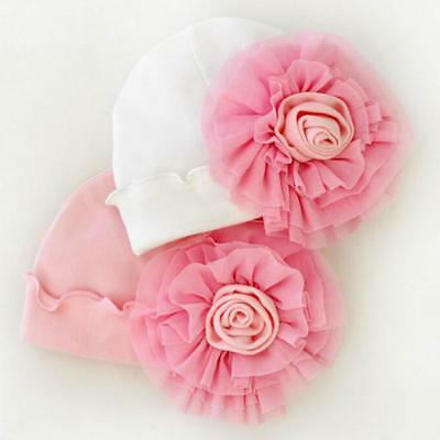 Newborn Baby Girls Infant Big Flower Cotton Todder Hospital Cap Beanie Hat LC