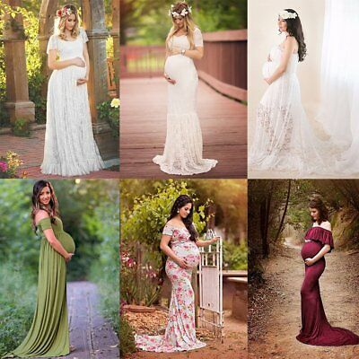 Pregnant Women Lace Wedding Party Photography Props Long Maxi Maternity Dress