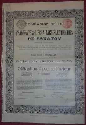 30886 RUSSIA 1907 Tramways...of Saratov 4% Bearer Bond -with coupons