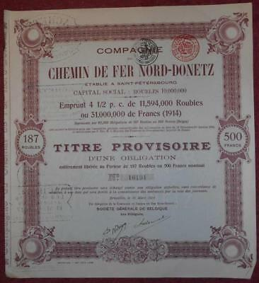 30888 RUSSIA 1914 North Donetz Railway Provisional Title of 1 Bond 500 Fr