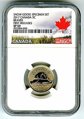 2017 Canada 5 Cent Ngc Sp69 First Releases Frosted Beaver Nickel Rare !