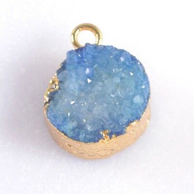 12mm Round Blue Agate Druzy Geode Charm One Bail Gold Plated B047228