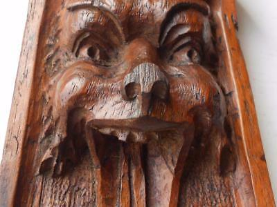 Antique Hand Carved Wooden Mahogany Furniture Head Mount Corbel Decoration