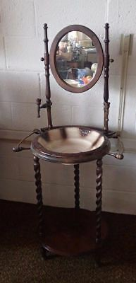 Antique Victorian Wood Wooden Shaving Wash Stand Bowl