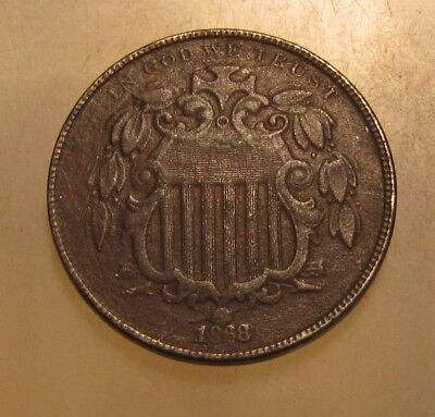 1868 Shield Nickel - Circulated Condition - 21SA