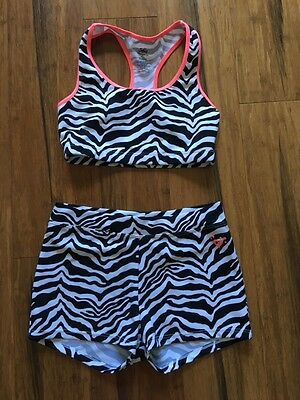 Justice Girls Size 8-10 - Black & White Zebra Dance Shorts & Matching Top