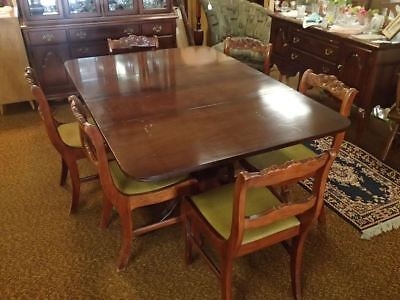 Vintage DUNCAN PHYFE Drop Leaf Mahogany Dining Room Table Brass Feet LONG 98""