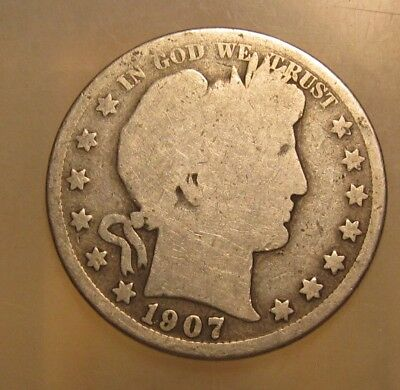 1907 S Barber Half Dollar - Circulated Condition - 96SA