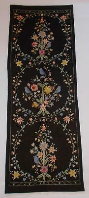 Swedish magnificent vintage Skane wool-embroidered drape with flowers and birds