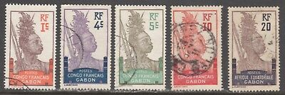 Gabon Stamps #33//57    (5) Early Issues    1904   Used