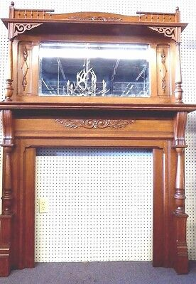 "Antique OAK Fireplace Mantle.Beveled Mirror.Lattice Work.Columns. 81"" x 60""W."