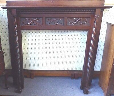 "Antique Fireplace Mantle. Barley Twist Columns. Hand carved. 63""H x 61.5""W. 1910"