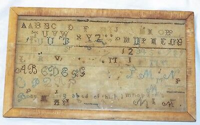RARE EARLY Antique Small ALPHABET Hand Embroidered Famed SAMPLER