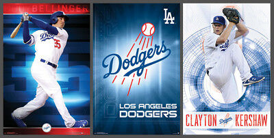 Los Angeles Dodgers 3-POSTER COMBO SET - Cody Bellinger, Clayton Kershaw, Logo