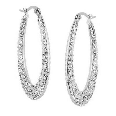 Steel By Design Clear Crystal And Cable Insideout Elongated Hoop
