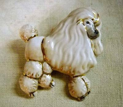 "Ganz ""Best Friends"" Glazed Ceramic Poodle Dog Pin Brooch"
