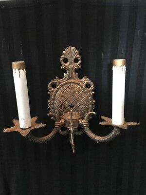 Vintage Electric Brass /Bronze Wall Sconce Double Candle Light  Fixture