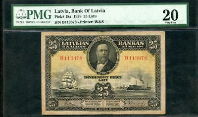 1928 LATIVIA, BANK OF LATIVIA 25 LATU PCK #18a PMG 20 PLEASE LQQK!*