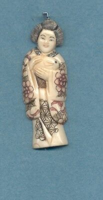 Large Geisha W Rabbit   Pendant Hand Carved Scrimshaw Painted Silver Bail 974