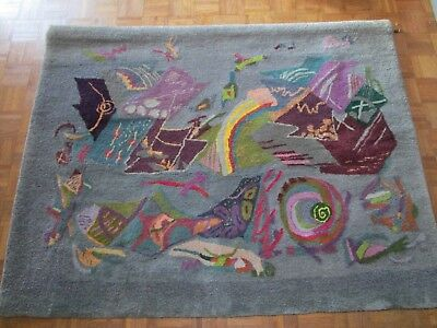 Large Rug Wall Hanging Abstract By Portugal Artist Fatima Vaz Surrealism 1970's