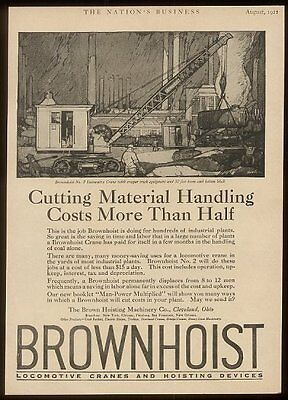 1921 Brown Hoist Brownhoist locomotive crane vintage print ad
