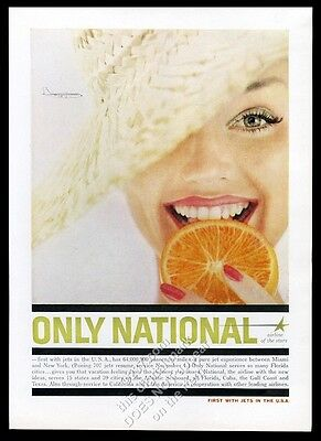 1959 National Airlines smiling woman color photo vintage print ad
