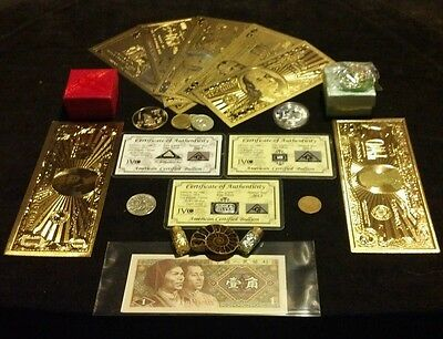22Pc U.S LOT-CHARM,COINS,FOSSIL,7 GOLD&World Banknotes,US& WORLD .999 SILVER Bar