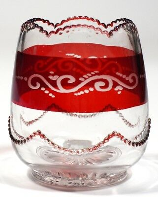 HEISEY - No. 1295 BEAD SWAG - Ruby Stained Spooner
