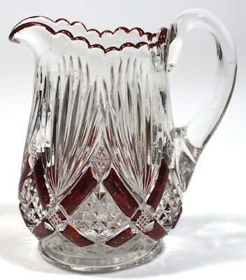 EAPG - Champion aka: Fan with Crossbars - Ruby Stained Handled Creamer
